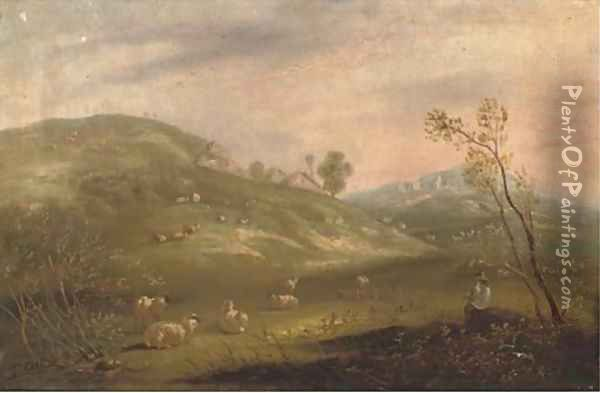 A shepherd and his flock on a hillside with cottages in the distance Oil Painting - John Maler Collier