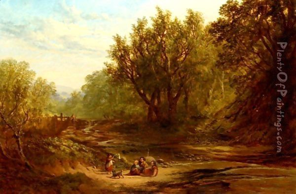 Children Fishing By A Stream Oil Painting - John Milne Donald