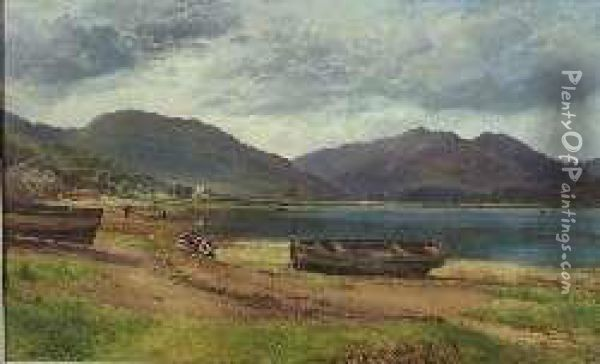 Figures And Rowing Boats By The Loch Oil Painting - John Milne Donald