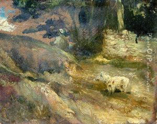 Figure And Dog In A Landscape Oil Painting - John Nicholas Rhodes