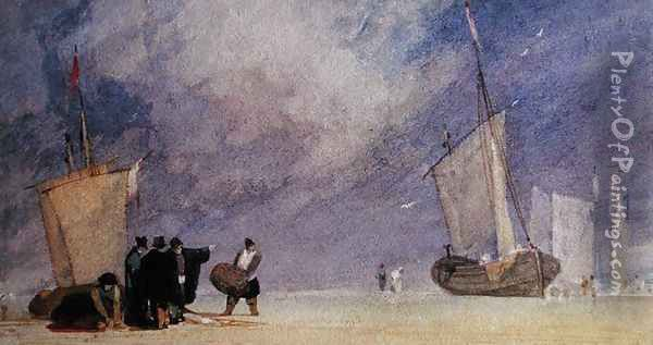 Figures of the Shore Unloading a Boat at Low Tide Oil Painting - John Sell Cotman