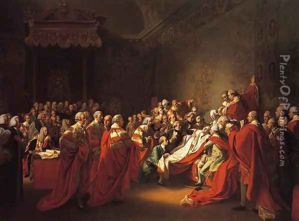 The Collapse of the Earl of Chatham in the House of Lords (or The Death of the Earl of Chatham) Oil Painting - John Singleton Copley
