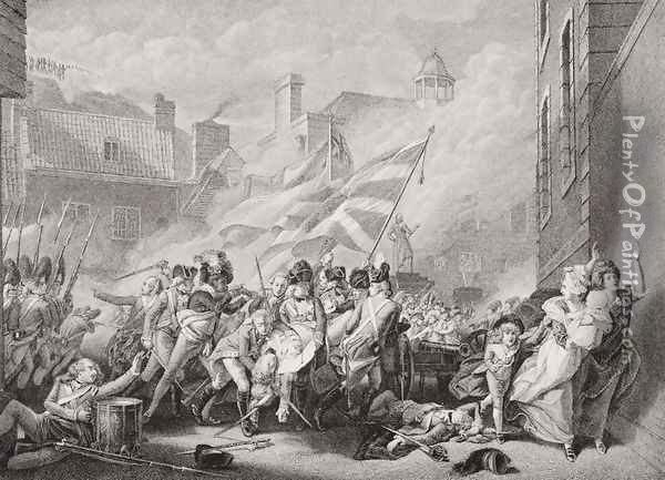 The death of Major Peirson at St. Helier, retaking Jersey from the French, 8 January 1781, from Illustrations of English and Scottish History Volume II Oil Painting - John Singleton Copley