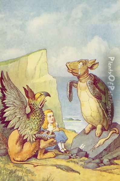 The Mock Turtle and the Gryphon, illustration from Alice in Wonderland by Lewis Carroll 1832-9 Oil Painting - John Tenniel