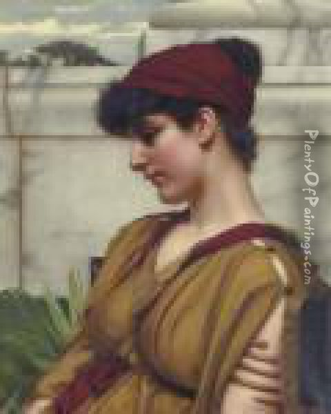 A Classical Beauty In Profile Oil Painting - John William Godward