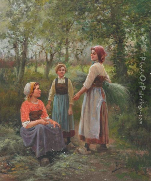 Young Harvesters Resting In The Fields Oil Painting - Jose Maria Jardines