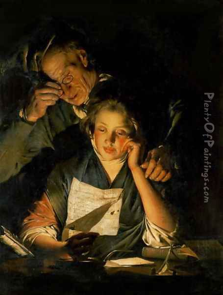 A Girl reading a Letter, with an Old Man reading over her shoulder, c.1767-70 Oil Painting - Josepf Wright Of Derby
