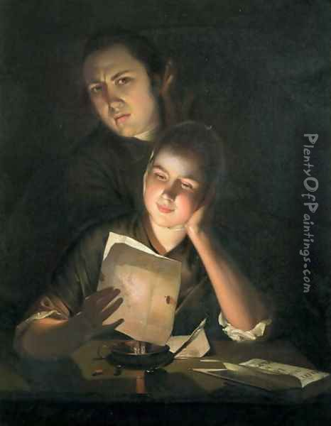 A Girl reading a letter by Candlelight, with a Young Man peering over her shoulder, c.1760-2 Oil Painting - Josepf Wright Of Derby