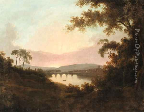 A view of Florence at Sunrise Oil Painting - Josepf Wright Of Derby