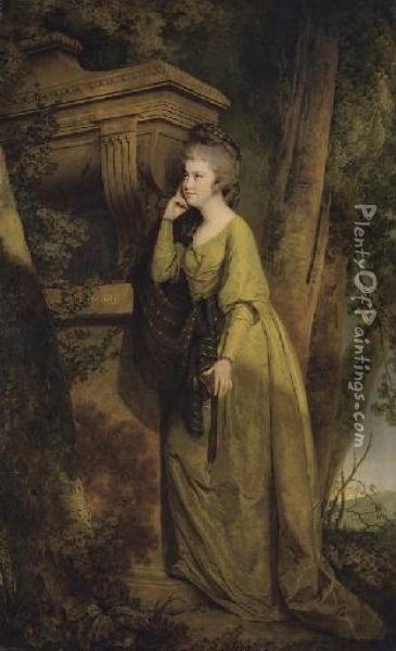 Portrait Of Dorothy Gell  (1758-1808), Of Hopton, Full-length, In A Green Dress, Leaning Against A  Sarcophagus, In A Landscape Oil Painting - Josepf Wright Of Derby