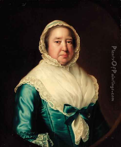 Portrait of Mrs. Fowler, half-length, in a blue dress, with a white shawl and bonnet, feigned oval Oil Painting - Josepf Wright Of Derby