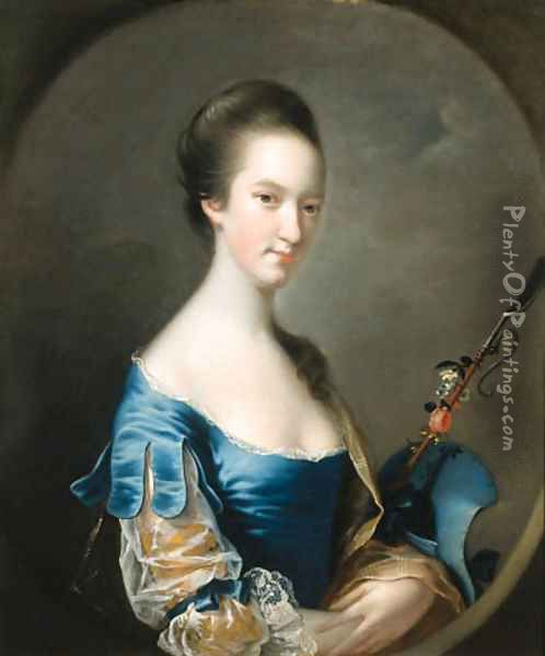 Portrait of a Lady, half-length, in a blue and yellow dress, holding a shepherd's crook decorated with flowers, in a painted oval Oil Painting - Josepf Wright Of Derby
