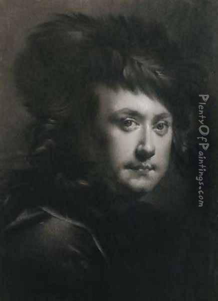 Self Portrait Oil Painting - Josepf Wright Of Derby