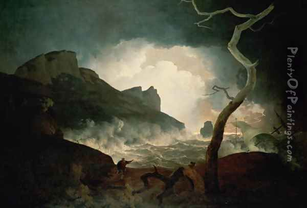 The Storm, Antigonus pursued by the Bear from The Winters Tale, Act III, Sc.III Oil Painting - Josepf Wright Of Derby