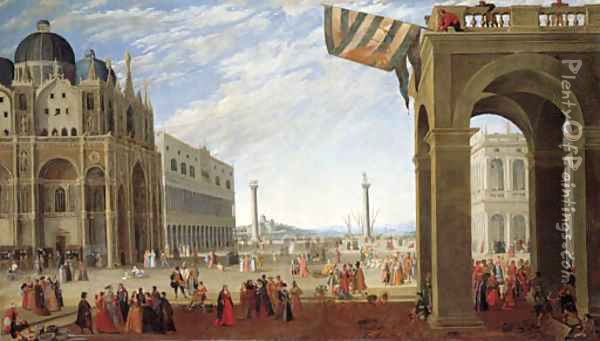 A view of the Bacino from the Piazza San Marco with the Doge's Palace and the Church of San Marco Oil Painting - Joseph, The Younger Heintz
