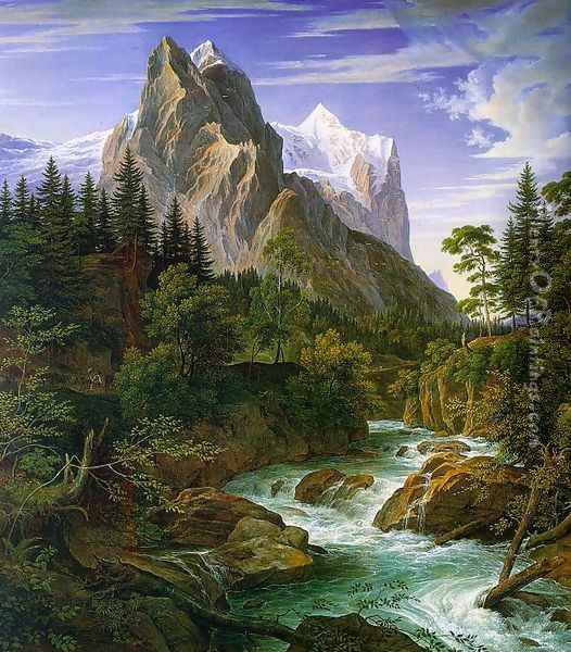 The Wetterhorn with the Reichenbachtal 1824 Oil Painting - Joseph Anton Koch