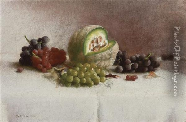 Still Life With Melon And Grapes Oil Painting - Joseph Decker