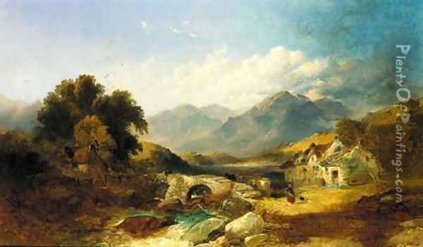 A drover with cattle on a bridge in a Highland landscape Oil Painting - Joseph Horlor