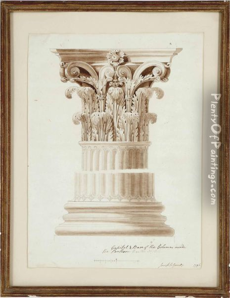 Capital & Base Of The Columns Inside The Pantheon Oil Painting - Joseph Michael Gandy