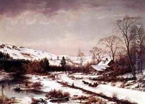 Winter Scene Oil Painting - Joseph Morviller