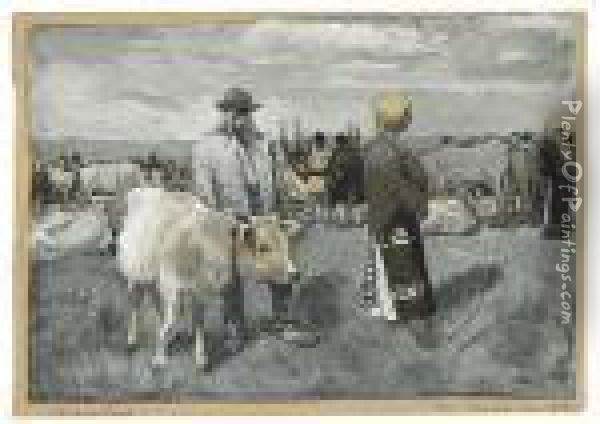 The Servant Even Of The Peasant. Oil Painting - Joseph Pennell