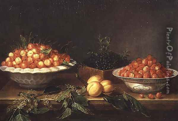 Still-life with fruit in porcelain dishes and a wooden box Oil Painting - Joseph Plepp