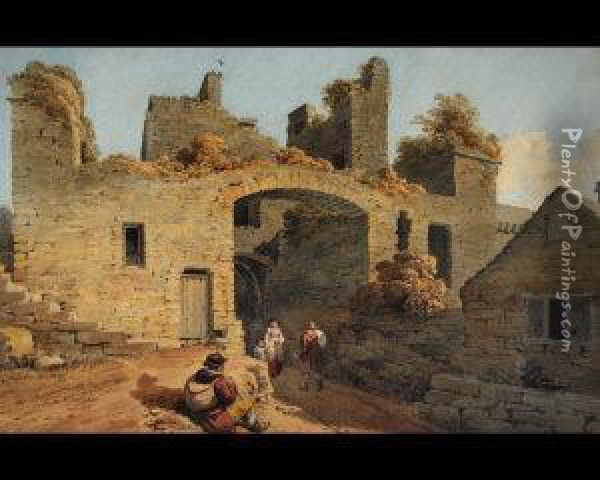 Entrance Gate Into Conway Nw Oil Painting - Joseph Rubens Powell