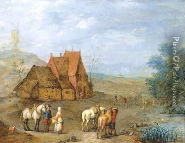 A landscape with travellers and their horses before a farmhouse, windmill beyond Oil Painting - Joseph van Bredael