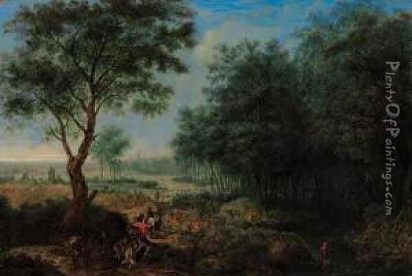A Wooded River Landscape With Travellers Unloading A Fallenpackhorse On A Track, A Town Beyond; And A Mountain River Landscapewith Wagons And Travellers On A Track, Men Bathing Nearby Oil Painting - Josephus Vrienntt
