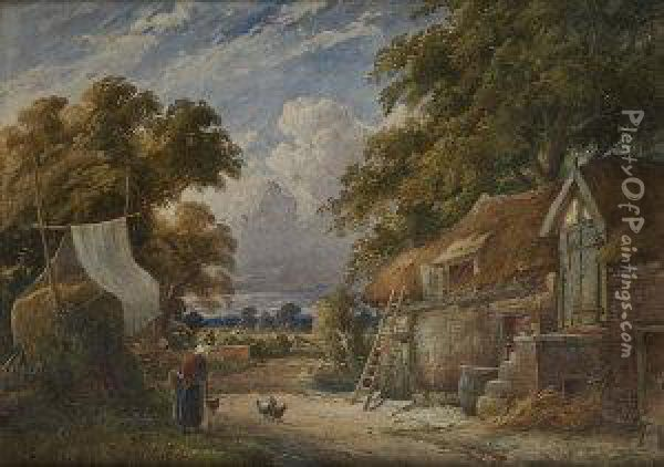 Figure And Cottage In A Rural Landscape Oil Painting - Joshua Renshaw