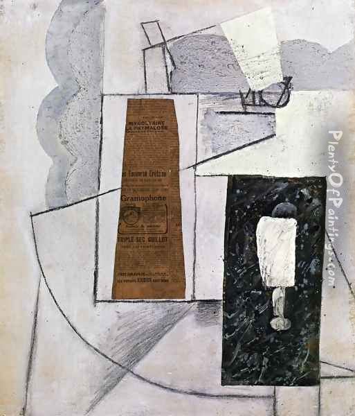 Bottle and Glass I Oil Painting - Juan Gris