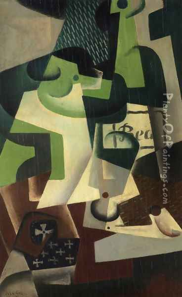 Bottle of Beaune and a Fruit Dish Oil Painting - Juan Gris