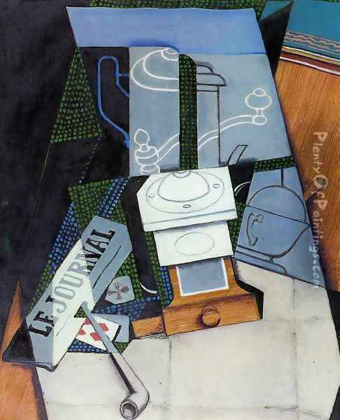 Newspaper with Coffee Mill Oil Painting - Juan Gris