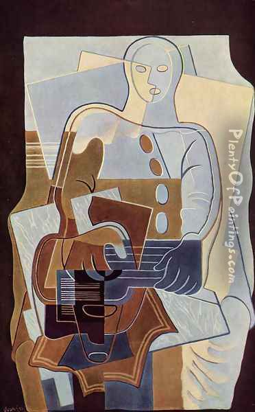 Pierrot with Guitar Oil Painting - Juan Gris