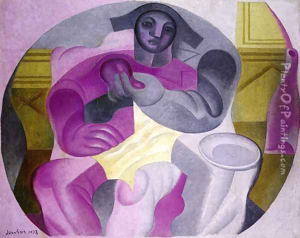 Seated Harlequin Oil Painting - Juan Gris