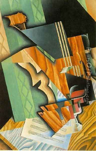 Violin And Glass Oil Painting - Juan Gris