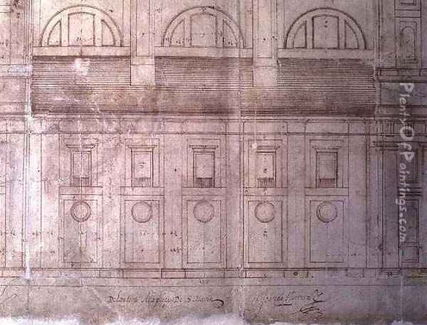 Design for the exterior elevation of the facade of Valladolid Cathedral in the Plaza de Santa Maria Oil Painting - Juan de Herrera