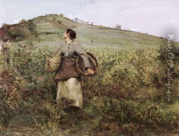 At Harvest Time Oil Painting - Jules Bastien-Lepage