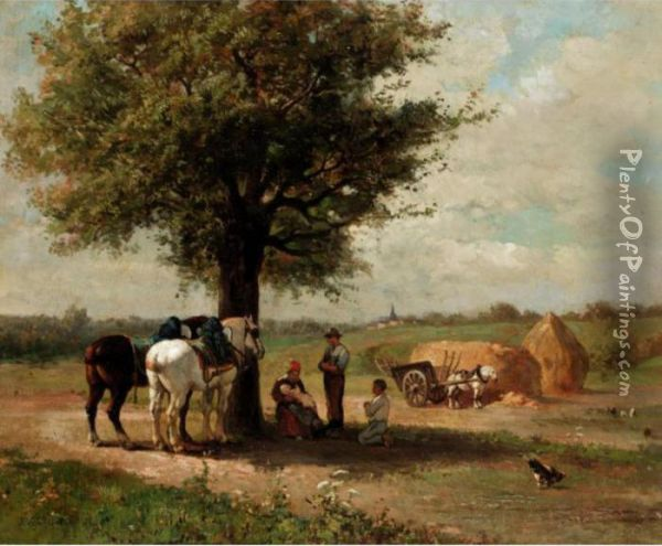 In The Shade Of The Tree Oil Painting - Jules Jacques Veyrassat