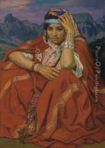 Femme Kabyle Oil Painting - Jules Migonney