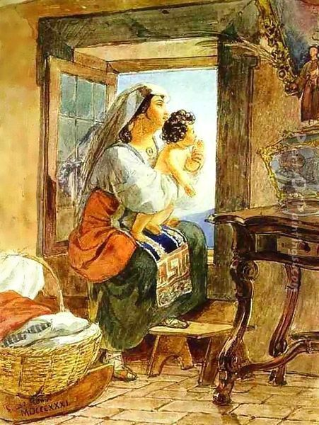 Italian Woman with a Child by a Window 1831 Oil Painting - Julia Vajda
