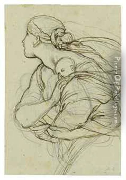A Woman Carrying A Sleeping Child Oil Painting - Julius Schnorr Von Carolsfeld