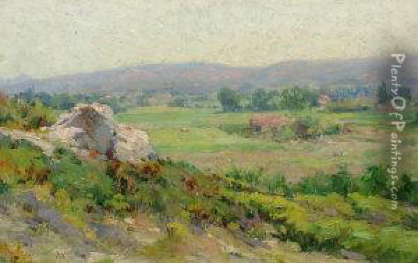 French -- View In Provence Oil Painting - Justin Jules Claverie