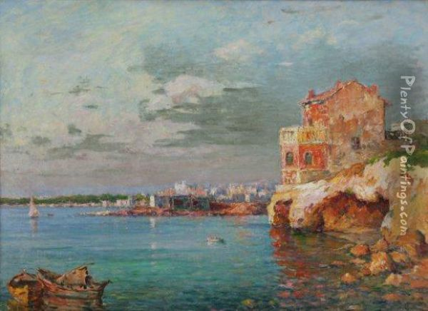 La Pointe Rouge A Marseille Oil Painting - Justin Jules Claverie