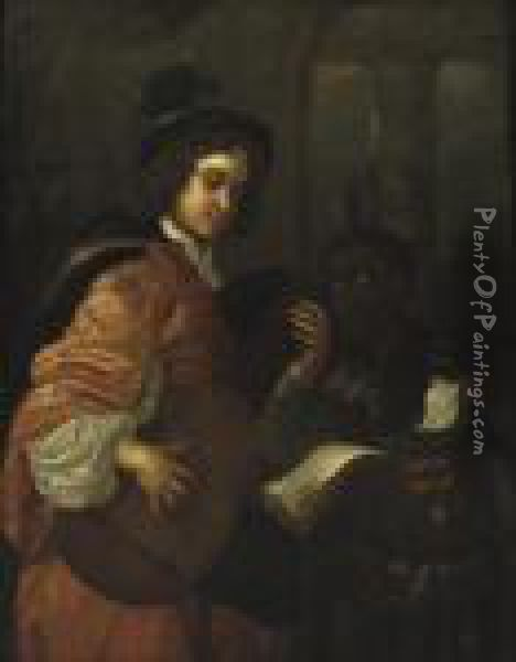 A Man Playing The Lute With A Servant Holding A Music Sheet Oil Painting - Karel De Moor