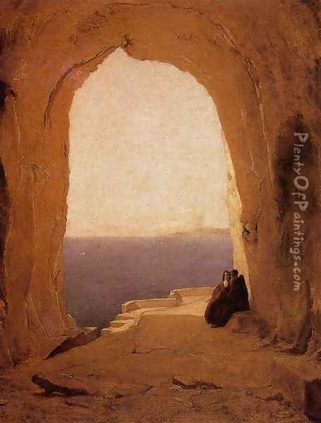 Grotto in the Gulf of Naples 1829 Oil Painting - Karl Blechen