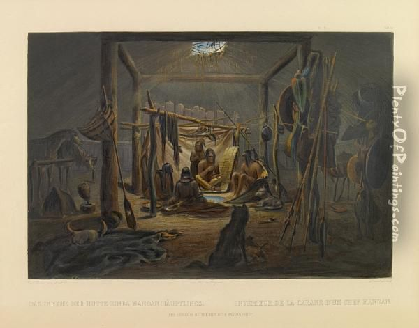 The Interior Of The Hut Of A Mandan Chief, Pl. 19, From Travels In The Interior Of North America Oil Painting - Karl Bodmer