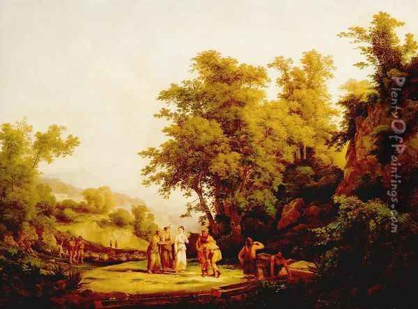 Biblical Scene The Meeting of Jacob and Laban 1832 Oil Painting - Karoly, the Elder Marko