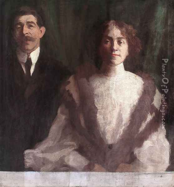 Cezar Herrer and his Wife at Nagybanya 1904 Oil Painting - Karoly Ferenczy