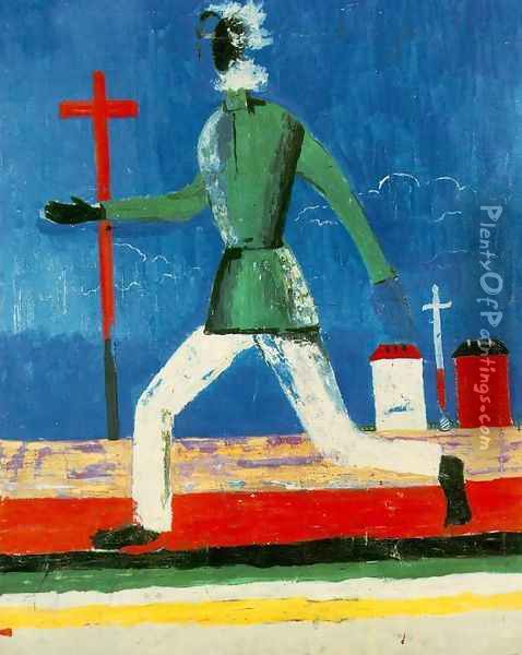 Running Man Oil Painting - Kazimir Severinovich Malevich